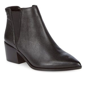 SAKS FIFTH AVENUE Black Leather Booties NEW 10